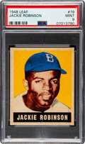 Baseball Cards:Singles (1940-1949), 1948 Leaf Jackie Robinson #79 PSA Mint 9 - None Higher! ...