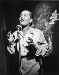 Photographs, Herman Leonard (American, 1923-2010). Billie Holiday, New York City, 1949. Gelatin silver, printed later. 12 x 9-1/2 inc...