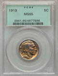 Buffalo Nickels: , 1919 5C MS65 PCGS. PCGS Population: (488/196). NGC Census:(185/47). CDN: $400 Whsle. Bid for problem-free NGC/PCGS MS65. M...
