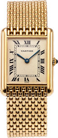 Timepieces:Wristwatch, Cartier Tank Quartz, 18K Yellow Gold, with Cartier 18k Yellow GoldBracelet. ...