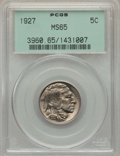 Buffalo Nickels: , 1927 5C MS65 PCGS. PCGS Population: (774/371). NGC Census:(336/99). CDN: $200 Whsle. Bid for problem-free NGC/PCGS MS65. M...