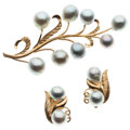 Estate Jewelry:Lots, Freshwater Cultured Pearls, Gold Jewelry. ... (Total: 2 Items)