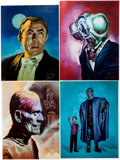 Memorabilia:Movie-Related, Jim Peavy - Movie Monster Portrait Signed Prints Group of 5 (c.1993).... (Total: 5 Items)