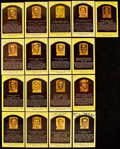 Autographs:Post Cards, Hall of Fame Yellow Post Card Plaque Signed Lot of 17....