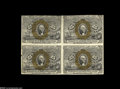 Fractional Currency:Second Issue, Fr. 1286 Milton 2R25.3 25¢ Second Issue Block of Four Extremely Fine. Not an easy block to find. It has a few light folds an...