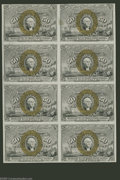 Fractional Currency:Second Issue, Fr. 1318 50¢ Second Issue Uncut Block Of Eight Choice About New. There is a vertical fold between the two columns of notes b...