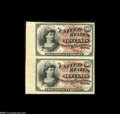 Fr. 1257 Milton 4R10.1 10¢ Fourth Issue Vertical Pair Very Choice New. One of only a few known examples of Fourth I...
