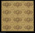 Fractional Currency:Inverts, Fr. 1230 Milton 1R5.4g 5¢ First Issue Block of Twelve Inverted BackEngraving Very Fine. Previously lot 484 from our January...