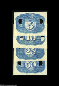 Fractional Currency:Experimentals, Proofs and Essays, Negative Essay Denomination Set in Blue Milton 2E5R.2c, 2E10R.5c,2E25R.1b, 2E50R.1e. Identical to the previous purple set i... (4items)