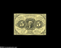Fractional Currency:Experimentals, Proofs and Essays, Milton 1E5F.2 5¢ First Issue Essay Superb Gem New. Printed in blackon a soft yellow paper. The underlying yellow color give...