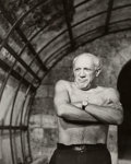 Photographs, André Villers (French, 1930-2016). Picasso, 1955. Gelatin silver, printed later. 23-1/2 x 19-1/4 inches (59.7 x 48.9 cm)...