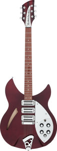 Musical Instruments:Electric Guitars, 2002 Rickenbacker 340 Burgundy glo Semi-Hollow Body ElectricGuitar, Serial # 15137....