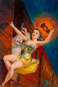 Norman Saunders (American, 1907-1989) His Fatal Fling, Dime Detective Magazine, August 1951 Oil on b