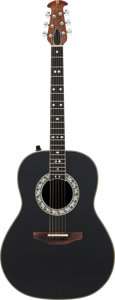 Musical Instruments:Acoustic Guitars, Tommy Tedesco's Circa 1970's Ovation Black Acoustic ElectricGuitar, Serial # 008318....