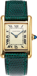 "Timepieces:Wristwatch, Cartier, Tank, Manual Wind, 18k YG,""Paris"" Spidered Dial, Circa1970's. ..."
