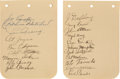 Baseball Collectibles:Others, 1930's Baseball Greats Signed Album Pages Lot of 2 with Gehrig & Lazzeri. ...