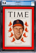 Baseball Collectibles:Publications, 1949 Stan Musial TIME Magazine, CGC 9.4 - Four Higher....