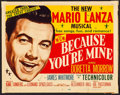 "Movie Posters:Musical, Because You're Mine (MGM, 1952). Title Lobby Card (11"" X 14"").Musical.. ..."