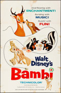 "Movie Posters:Animation, Bambi (Buena Vista, R-1966). One Sheet (27"" X 41""). Animation.. ..."