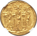 Ancients:Byzantine, Ancients: Heraclius (AD 610-641), with Heraclius Constantine andHeraclonas. AV solidus (19mm, 4.47 gm, 7h). NGC Choice AU ★ 5/5 -...