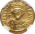 Ancients:Byzantine, Ancients: Phocas (AD 602-610). AV solidus (21mm, 4.50 gm, 7h). NGCChoice MS 5/5 - 5/5....