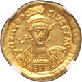 Ancients:Roman Imperial, Ancients: Theodosius II (AD 402-450). AV solidus (20mm, 4.17 gm,7h). NGC MS 5/5 - 4/5, clipped....