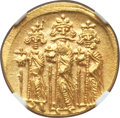 Ancients:Byzantine, Ancients: Heraclius (AD 610-641), with Heraclius Constantine andHeraclonas. AV solidus (20mm, 4.42 gm, 6h). NGC MS 5/5 -4/5. ...