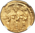 Ancients:Byzantine, Ancients: Heraclius (AD 610-641), with Heraclius Constantine andHeraclonas. AV solidus (21mm, 4.47 gm, 6h). NGC MS 4/5 - 4/5....