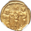 Ancients:Byzantine, Ancients: Heraclius (AD 610-641), with Heraclius Constantine and Heraclonas as Caesar. AV solidus (21mm, 4.48 gm, 7h). NGC MS 4/5 - 4/5....