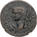 Ancients:Roman Provincial , Ancients: SYRTICA. Oea. Tiberius (AD 14-37). AE31 (31mm, 19.24 g,5h). NGC Choice VF ★ 5/5 - 5/5....