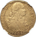 Colombia, Colombia: Charles IV gold 8 Escudos 1805 NR-JJ XF40 NGC,...