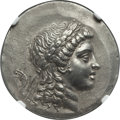 Ancients:Greek, Ancients: AEOLIS. Myrina. Ca. 155-145 BC. AR tetradrachm(33mm, 16.43 gm, 12h). NGC Choice AU 4/5 - 3/5. ...