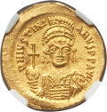 Ancients:Byzantine, Ancients: Justinian I the Great (AD 527-565). AV solidus (21mm,4.42 gm, 6h). NGC MS 5/5 - 4/5....