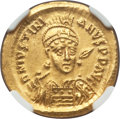 Ancients:Byzantine, Ancients: Justinian I the Great (AD 527-565). AV solidus (21mm,4.46 gm, 7h). NGC MS 5/5 - 3/5, edge bend, graffito....