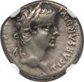 Ancients:Roman Imperial, Ancients: Tiberius (AD 14-37). AR denarius (17mm, 3.76 gm, 2h). NGCChoice VF 4/5 - 4/5....