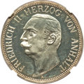 German States:Anhalt-Dessau, German States: Anhalt-Dessau. Friedrich II Proof 3 Mark 1909-A PR63Ultra Cameo NGC,...