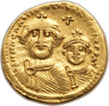 Ancients:Byzantine, Ancients: Heraclius (AD 610-641), with Heraclius Constantine. AVsolidus (20mm, 4.44 gm, 7h). VF, lt marks....