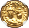 Ancients:Byzantine, Ancients: Heraclius (AD 610-641) and Heraclius Constantine (AD613-641). AV solidus (12mm, 4.45 gm, 6h). NGC AU 3/5 -4/5....