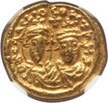 Ancients:Byzantine, Ancients: Heraclius (AD 610-641) and Heraclius Constantine (AD 613-641). AV solidus (11mm, 4.36 gm, 6h). NGC Choice XF 4/5 - 3/5, edge t...
