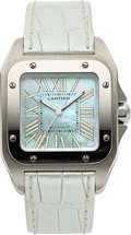 Timepieces:Wristwatch, Cartier, Santos 100 Automatic, Stainless Steel, Ref. W20132X8,Circa 2000s. ...