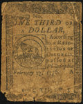 Continental Currency February 17, 1776 $1/3 Good-Very Good