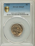 Buffalo Nickels, 1925 5C MS65 PCGS Secure. PCGS Population: (579/269). NGC Census:(223/136). CDN: $330 Whsle. Bid for problem-free NGC/PCGS...