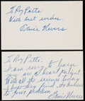 Autographs:Index Cards, Ernie Nevers Signed Index Card Lot of 2....