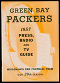 Football Collectibles:Publications, 1957 Green Bay Packers Press, Radio, & TV Guide - Paul Hornung Rookie Season....