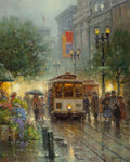 Paintings, G. (Gerald Harvey Jones) Harvey (American, 1933-2017). Powell Street Cable Cars. Oil on canvas. 20 x 16 inches (50.8 x 4...