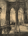 Fine Art - Work on Paper, Stow Wengenroth (1906-1978). Brooklyn Bridge, 1950.Lithograph on paper laid on board. 15 x 11-1/2 inches (38.1 x 29.2c...