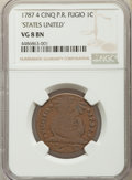 1787 CENT Fugio Cent, STATES UNITED, 4 Cinquefoils, Pointed Rays, VG8 NGC. NGC Census: (27/525). PCGS Population: (33/16...
