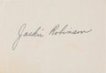 Baseball Collectibles:Others, 1950's Jackie Robinson Signed Cut Signature, PSA/DNA Mint 9....