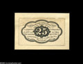 Fractional Currency:Experimentals, Proofs and Essays, Milton 1E25R.1a 25¢ First Issue Essay About New, Damaged. Printedin black ink on a thin brownish paper which is in turn mou...