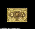 Fractional Currency:First Issue, Fr. 1228 5¢ First Issue Very Choice New. This 5¢ note has full, deep perforations all the way around and is Gem in every res...